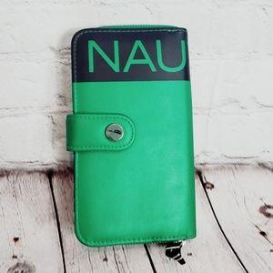 Nautica Navy Blue Green Clutch Wallet